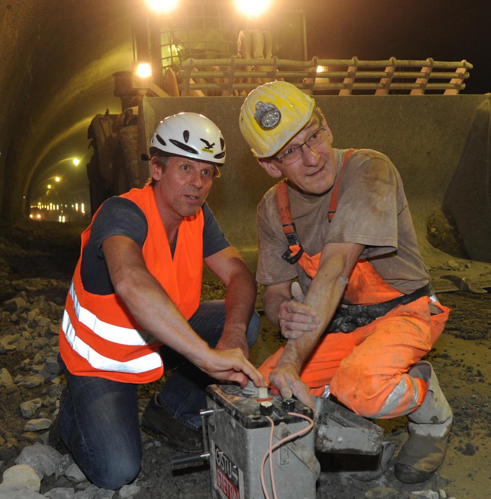 Sprengmeister im Tunnel